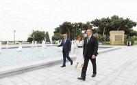 İlham Əliyev yeni parkın açılışında