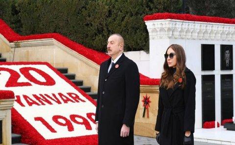 Prezident və birinci xanım Şəhidlər xiyabanını ziyarət etdi (FOTOLAR)