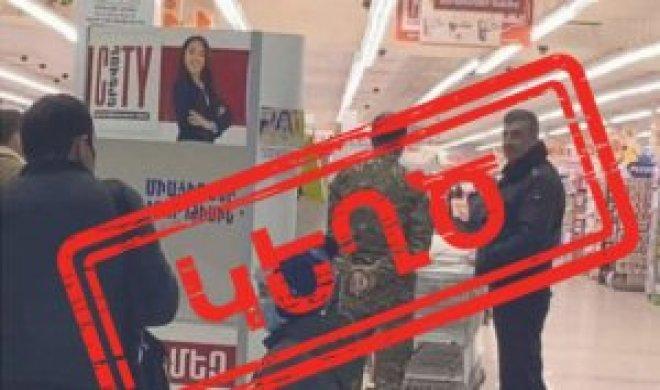 """Yerevan supermarketində """"Azərbaycan hərbçiləri""""?"""